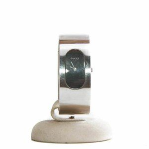 Gucci 2400L Black Oval Dial Stainless Steel Bangle